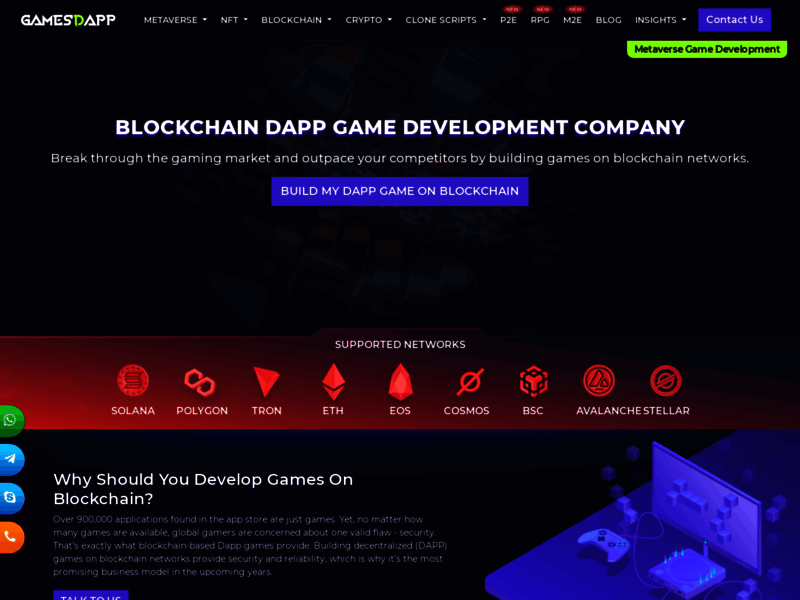 Website's screenshot : Blockchain game development company