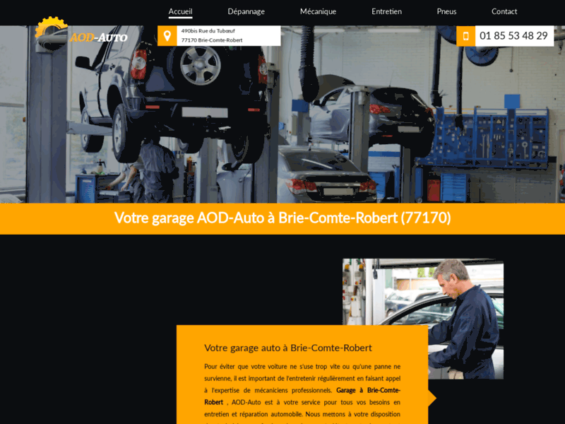Screenshot du site : Garage pneu à Brie-Comte-Robert