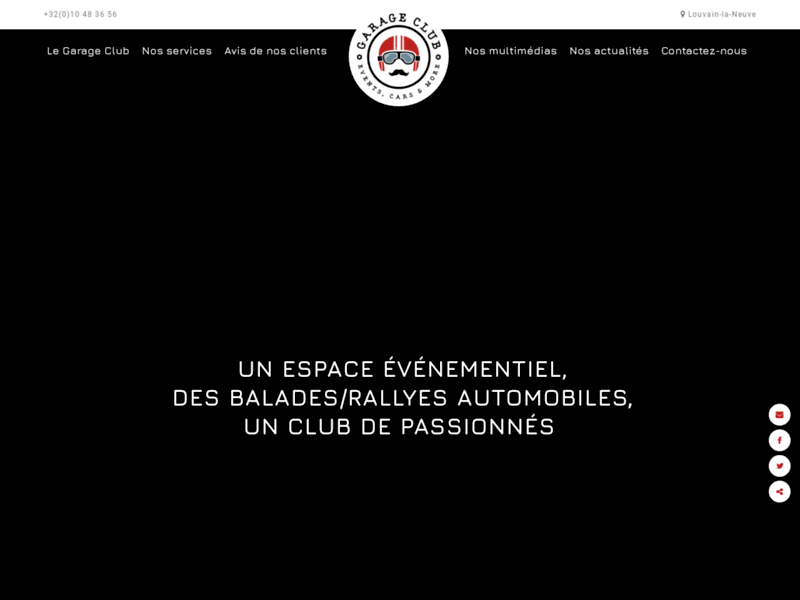 Screenshot du site : Le Garage Club