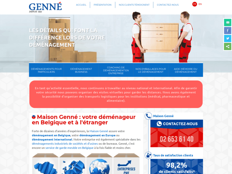 Screenshot du site : Maison Genné
