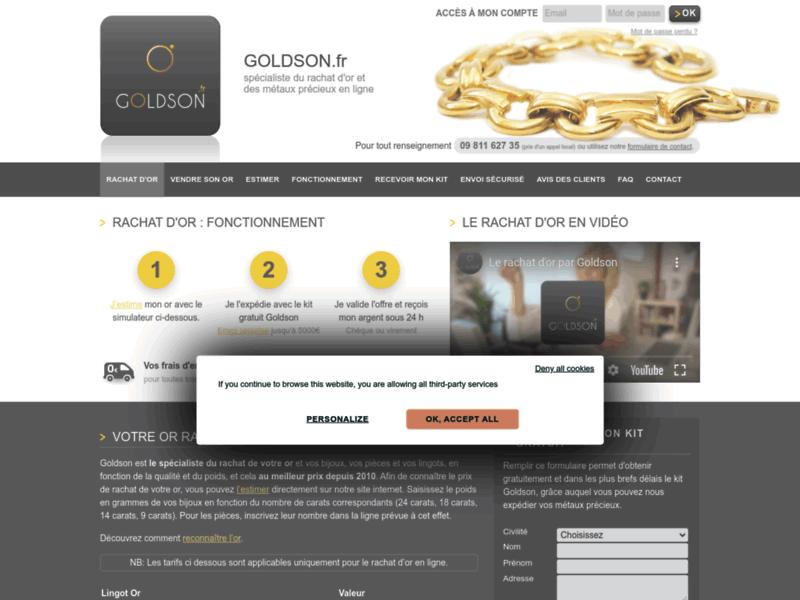 Goldson, rachat d'or et d'argent selon le cours officiel