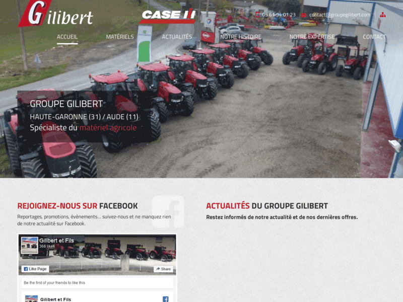 Screenshot du site : Matériels Agricoles Groupe Gilibert (31230)