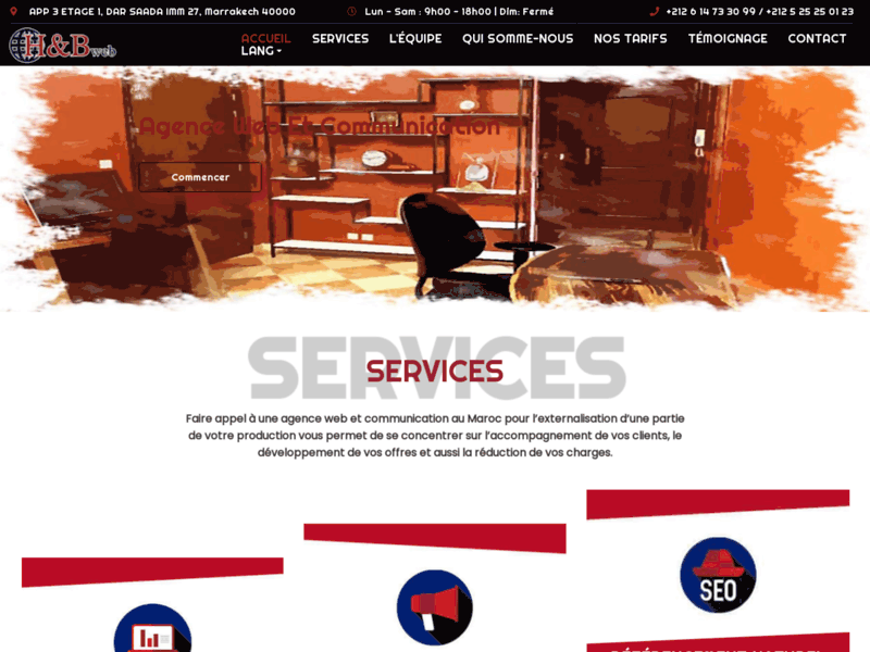 Screenshot du site : agence web a marrakech