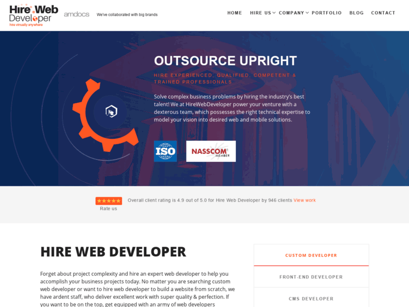 Website's screenshot : HireWebDeveloper