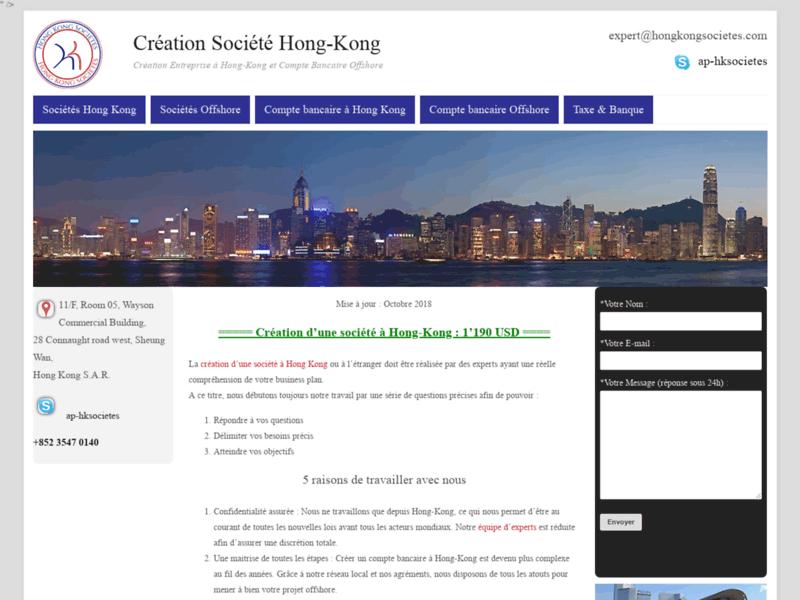 Création société offshore à Hong-Kong
