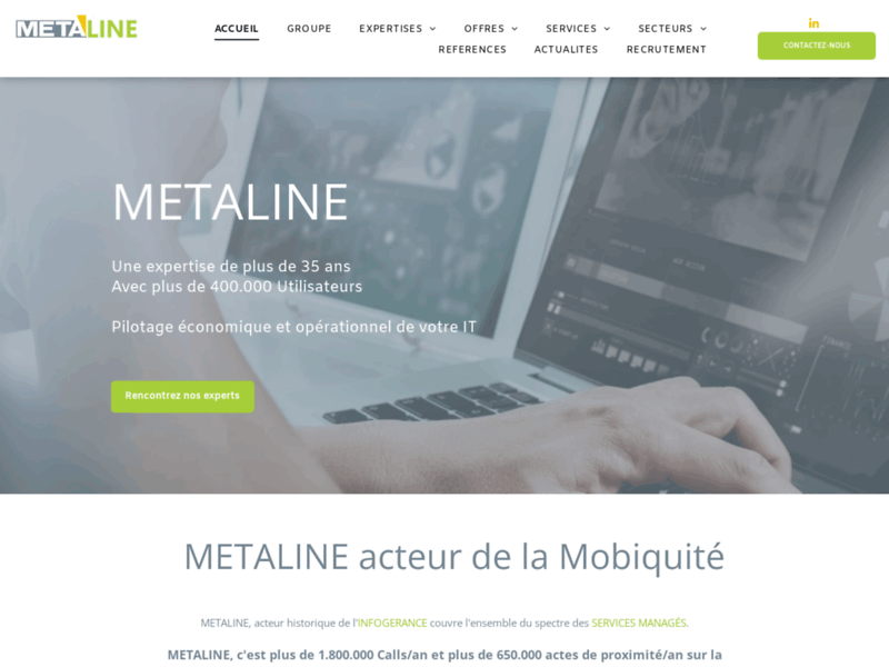 Screenshot du site : Infogérance migration informatique & MCO
