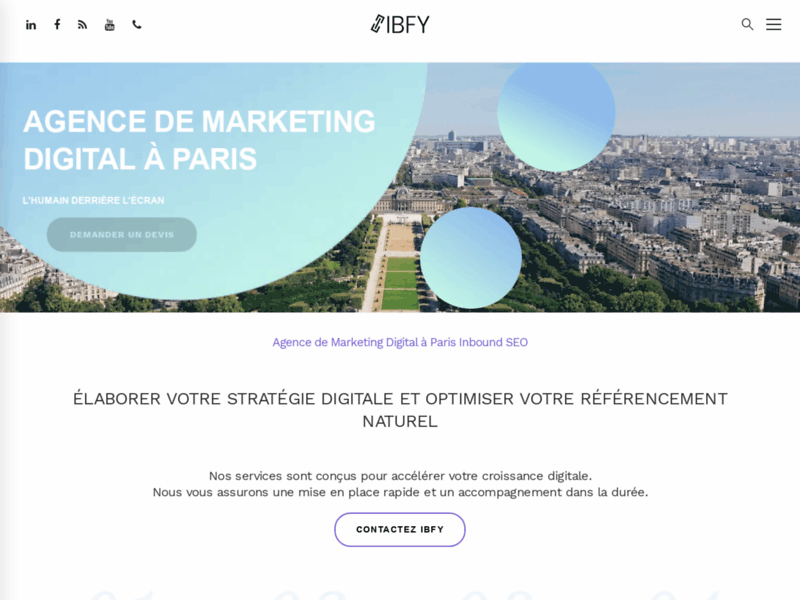 Screenshot du site : IBFY Agence Marketing digital Paris