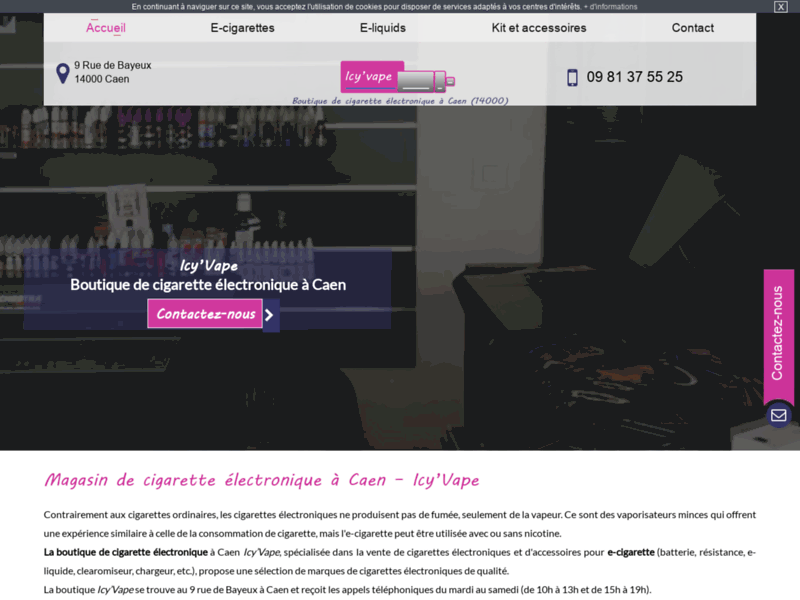 Screenshot du site : vente de cigarette electronique à caen