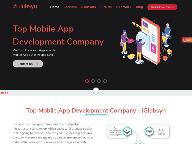 Website's screenshot : iGlobsyn Technologies - App Development Company
