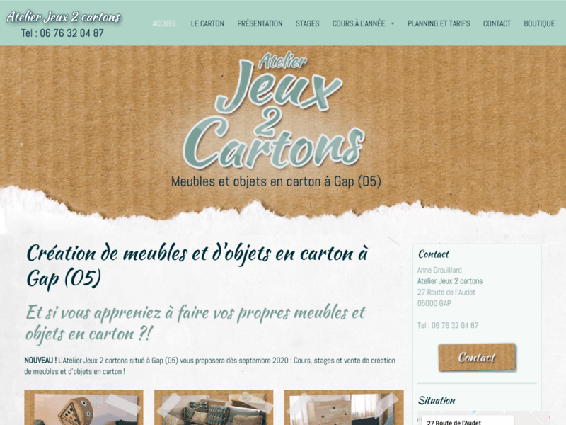 Screenshot du site : Atelier Jeux 2 cartons