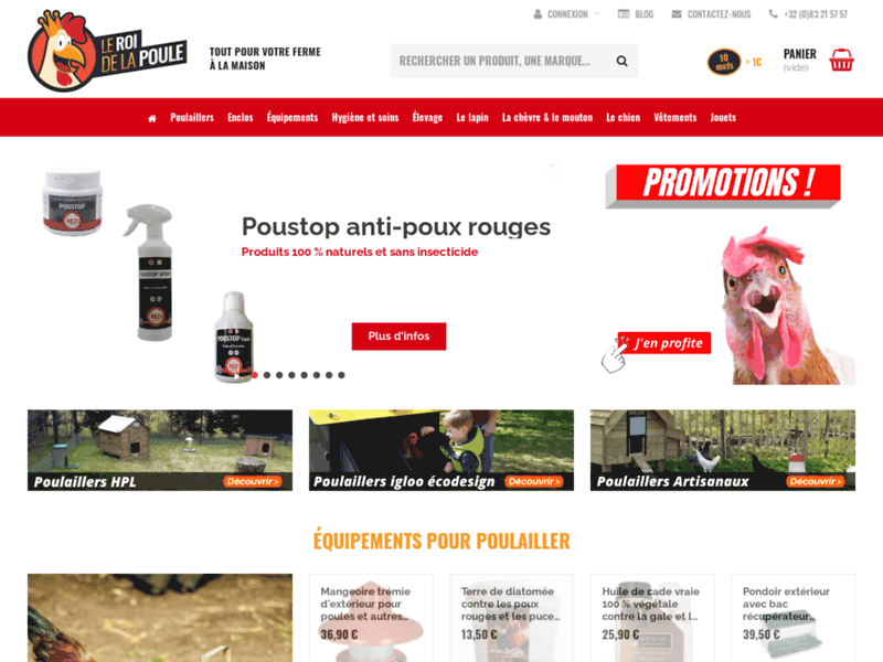 Screenshot du site : Le Roi de la Poule