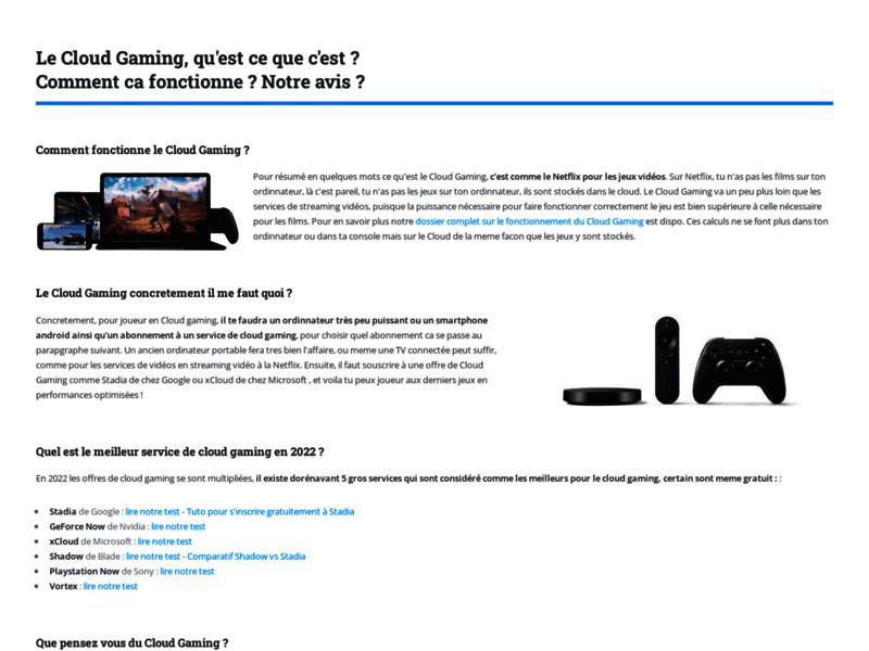 Le Cloud Gaming