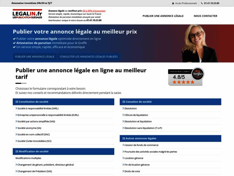 Annonces légales en ligne