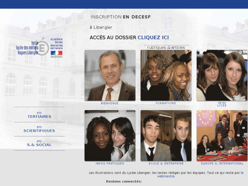Screenshot du site : Lycée Hugues Libergier - Reims