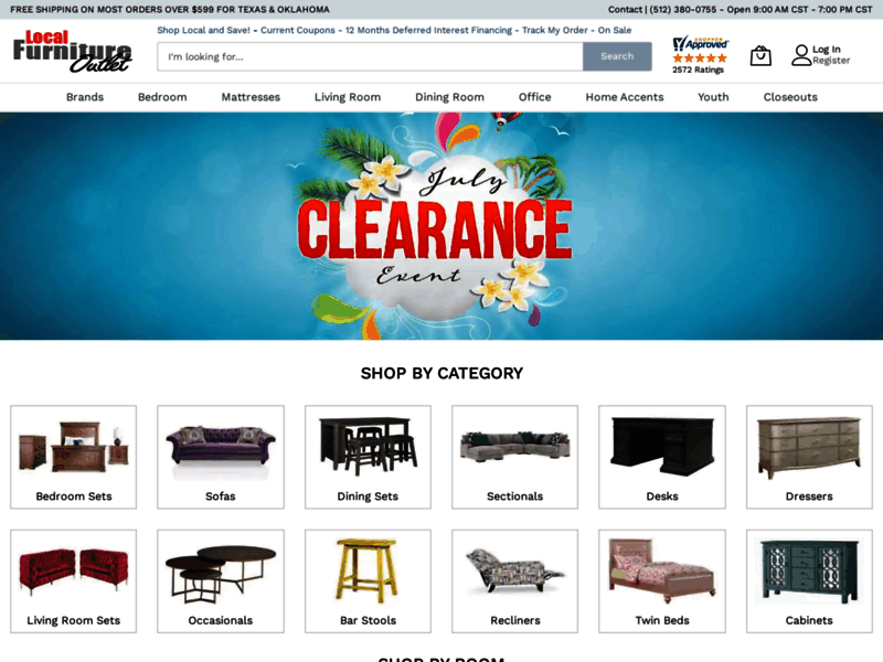 Website's screenshot : local furniture outlet
