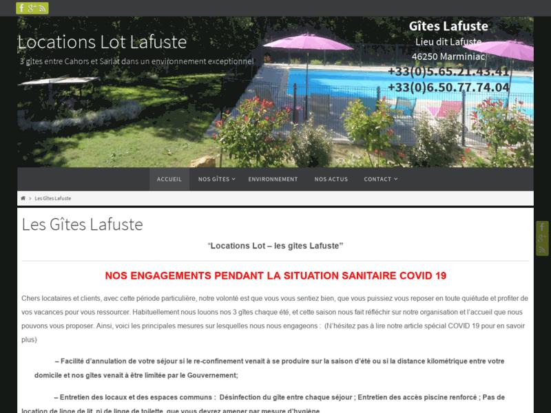 Locations Lot, les gîtes de Lafuste