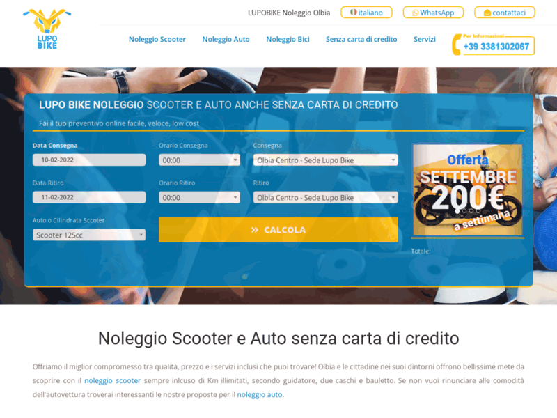 Website's screenshot : Lupo Bike Noleggio Scooter e Auto Olbia