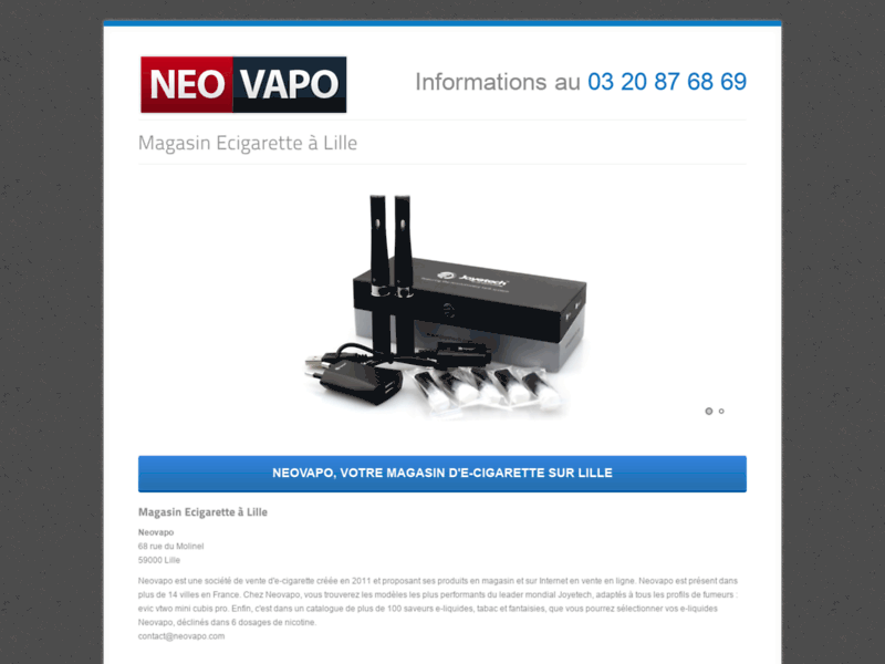 Screenshot du site : Neovapo à Lille : Des e-cigarettes performantes