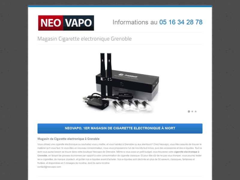 Screenshot du site : Neovapo Grenoble