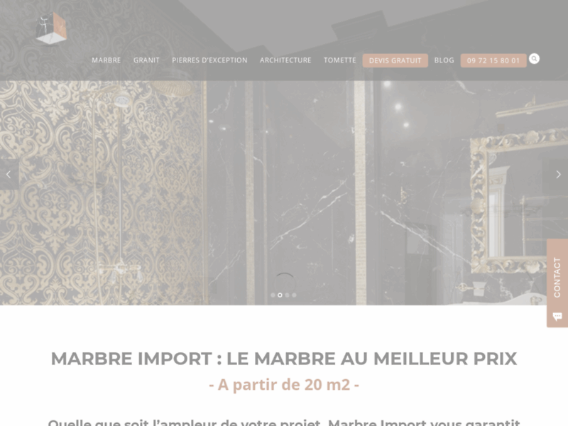 Screenshot du site : Marbre Import