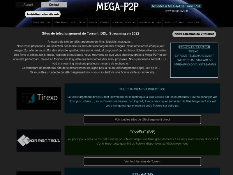 Mega P2P, téléchargement vidéo, musique et logiciel