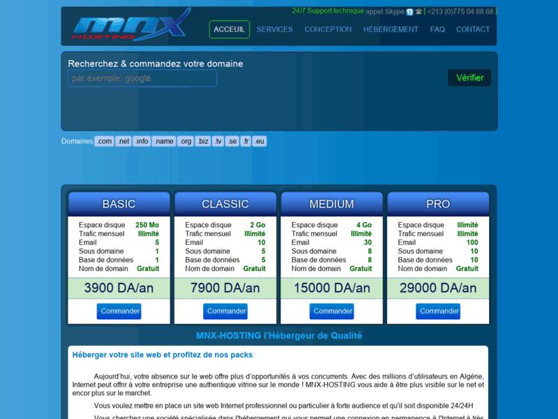 MNX Hosting, hébergement web en Algerie