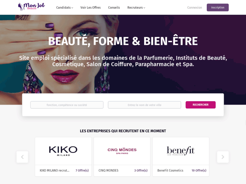 Screenshot du site : Beauté job et spa job