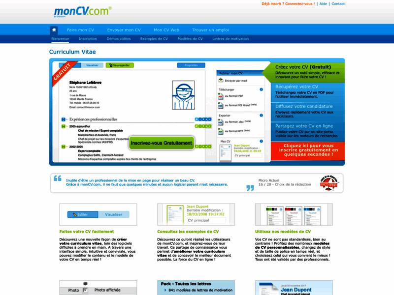 MonCV : Créez gratuitement un vrai CV