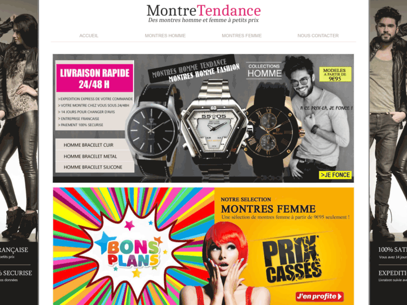 Montre Tendance, achat en ligne de montres pas chères pour homme et femme