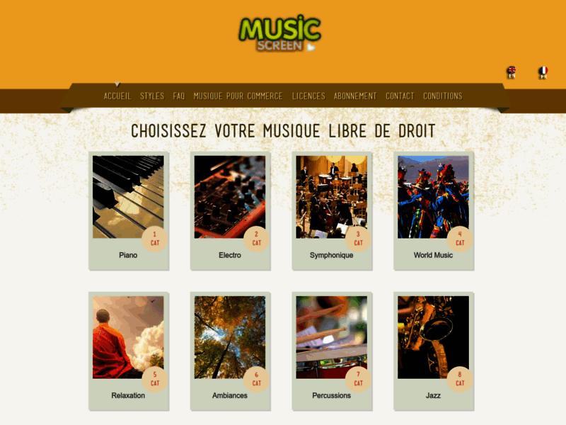 Music Screen: Librairie de musique libre de droit