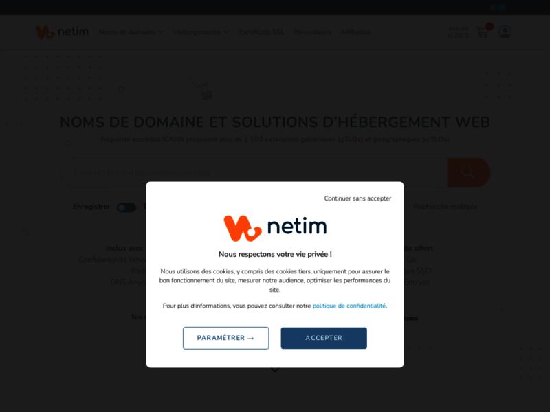 NETIM - Enregistrement de noms de domaine et hébergement web