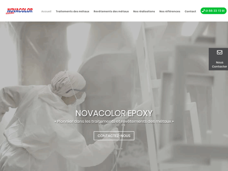 Screenshot du site : Novacolor Epoxy : traitement des surfaces