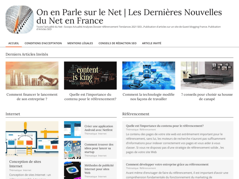Screenshot du site : Plateforme de publications web gratuites