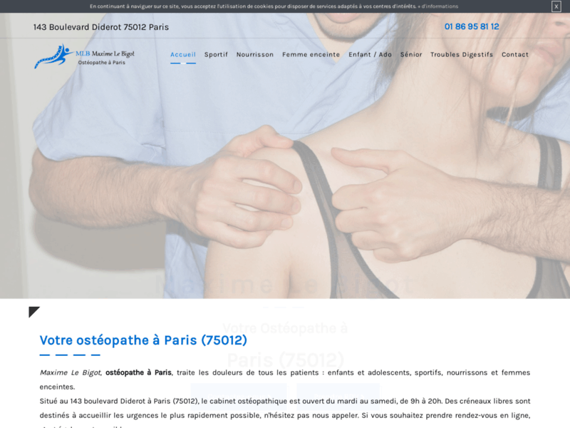 Screenshot du site : Cabinet d'ostéopathe pour nourrisson à Paris