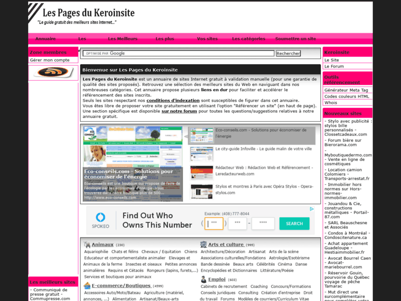 Les pages du Keroinsite, annuaire gratuit