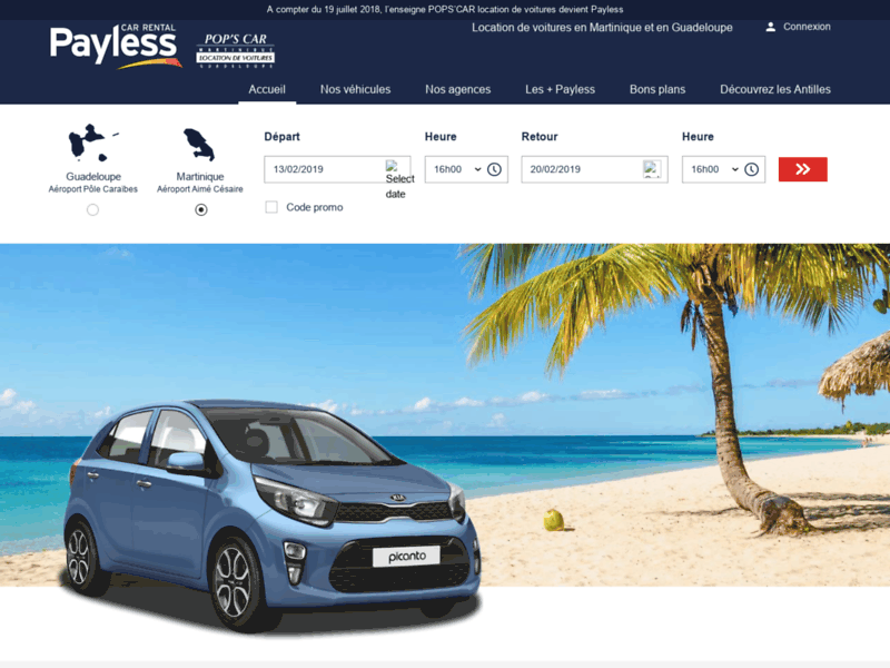 Screenshot du site : Location voiture Martinique