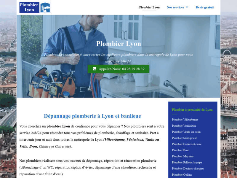 Screenshot du site : Plombier Lyon