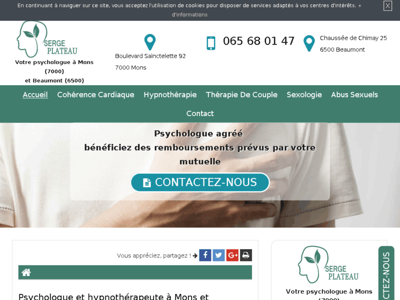 Screenshot du site : Votre cabinet de psychologie à Mons