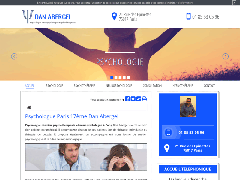 Screenshot du site : Psychotherapeute à Paris 17
