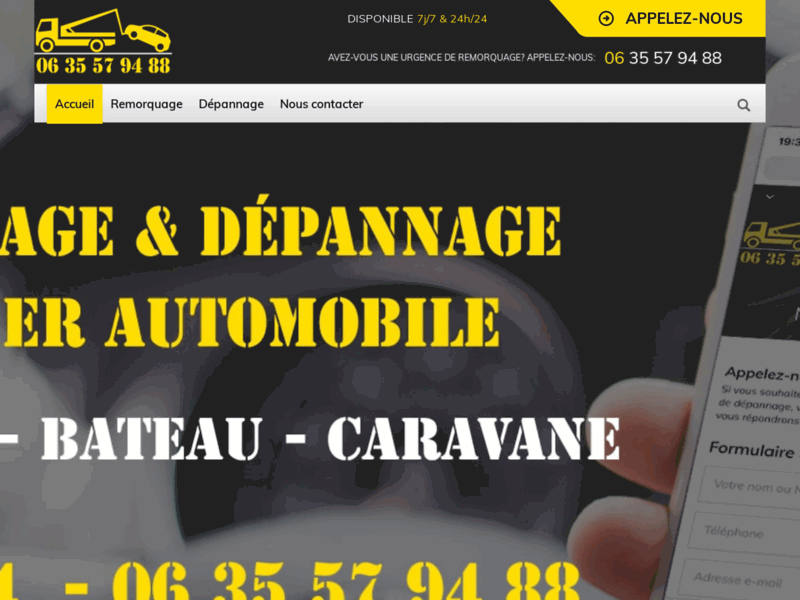 Screenshot du site : Remorquage Montpellier