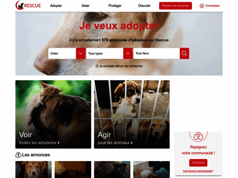 Rescue site et forum d'adoption d'animaux