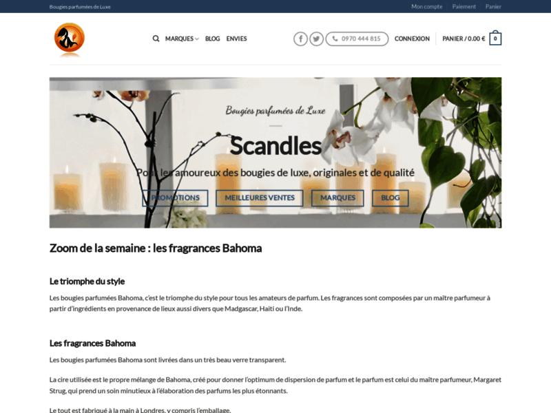 Scandles, site de vente en ligne de bougies parfumées de luxe