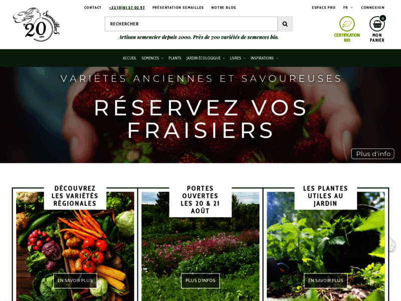 Screenshot du site : Semailles - artisan semancier
