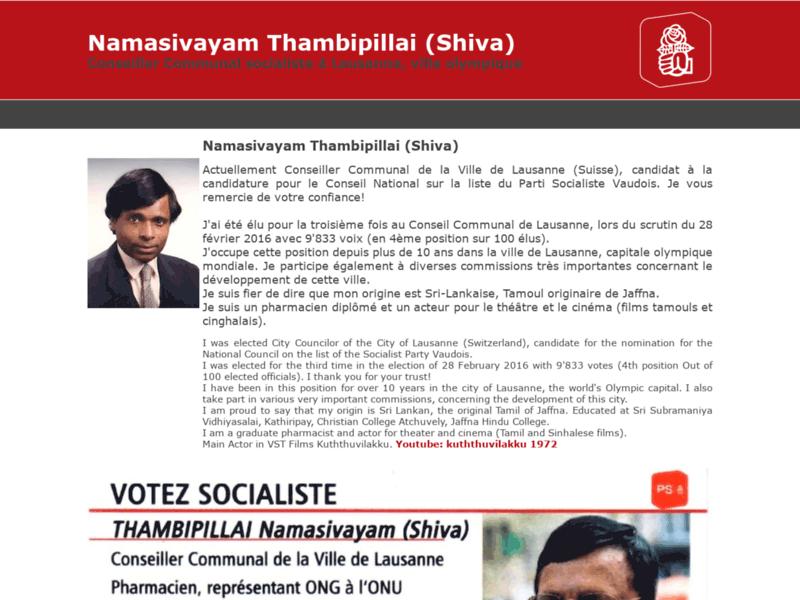 Election au Grand Conseil vaudois : Shiva Thambipillai, candidat député