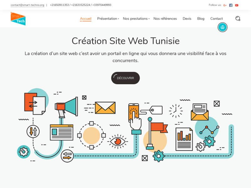 Screenshot du site : agence Web tunisie
