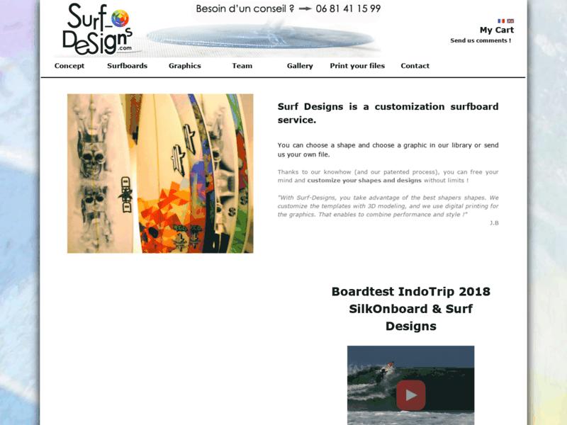 Surf Designs est un service de personnalisation de planches de surf. Tu peux choisir ta déco (ou nous envoyer ton fichier), choisir ton shape, puis visionner ta board en 3D !  -