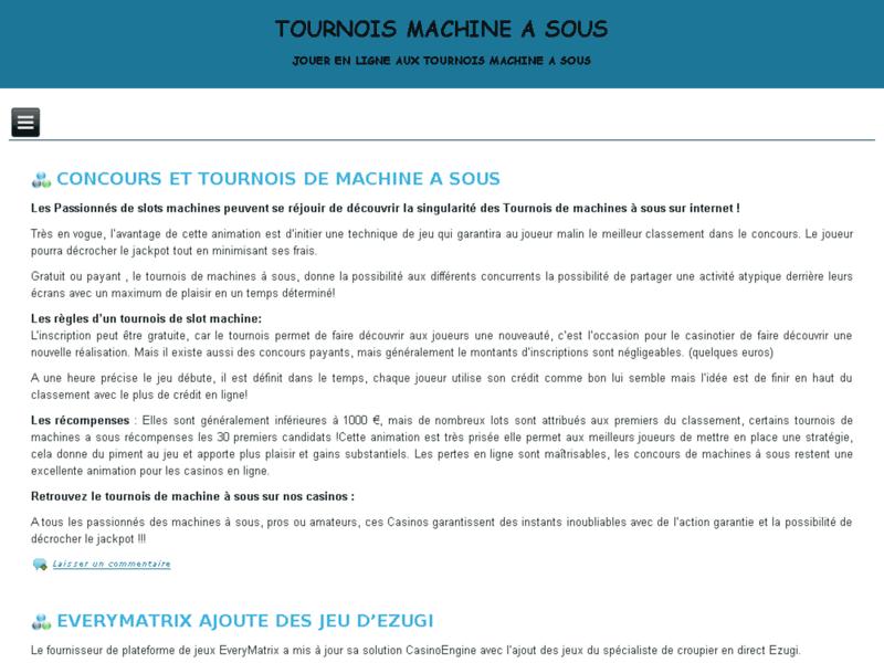 Tournois machine a sous