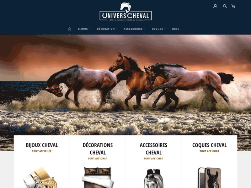 Screenshot du site : Univers Cheval