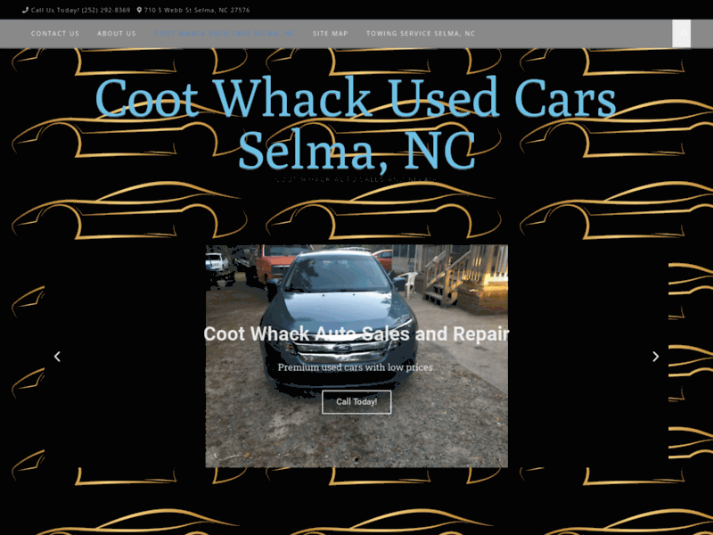 Screenshot du site : Coot Whack Used Cars