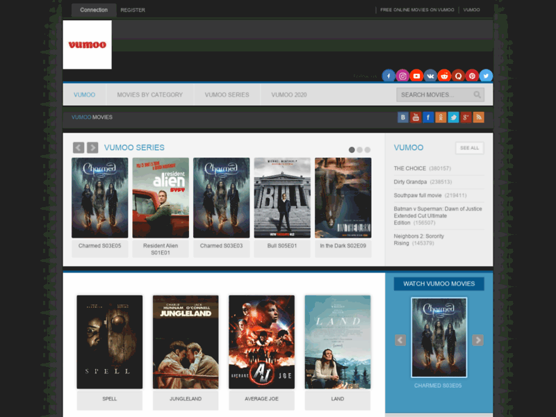 Website's screenshot : watch Online Free Movies on vumoo
